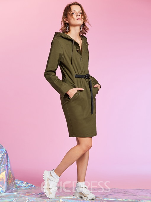 Ericdress Pocket Patchwork Pullover Hooded Day Dress