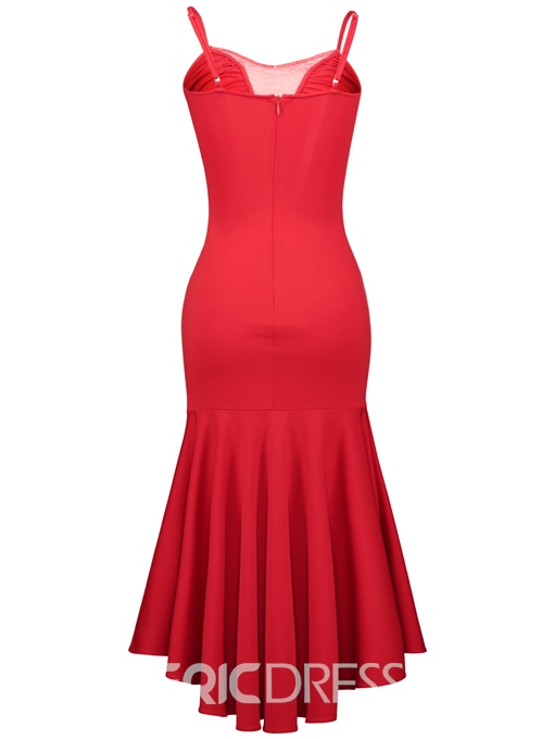 Ericdress Pleated Mesh Patchwork High-Low Bodycon Dress