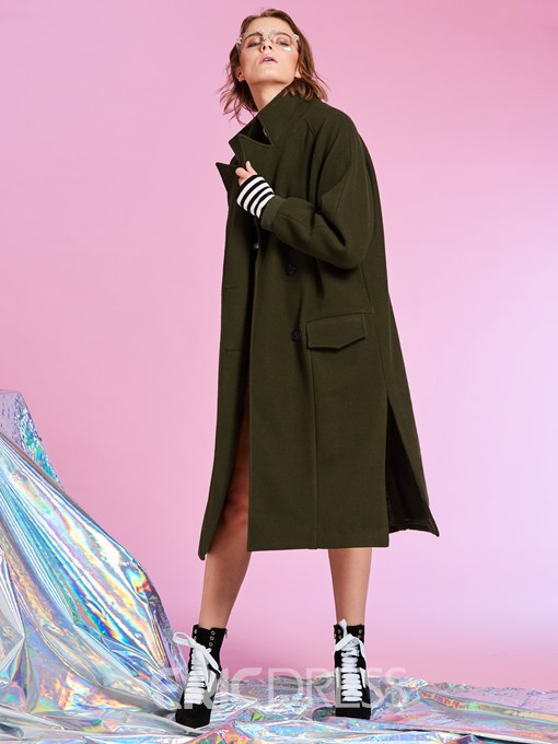Ericdress Notched Lapel Double-Breasted Plain Women's Overcoat
