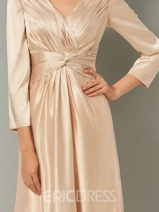Ericdress Sheath V Neck Pleats Long Sleeve Evening Dress