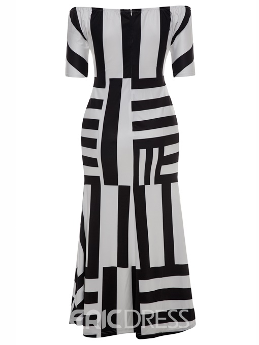 Ericdress Plus Slash Neck Color Block Stripe Maxi Dress