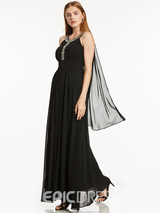 Ericdress A-Line Scoop Neck Beaded Ankle Length Evening Dress