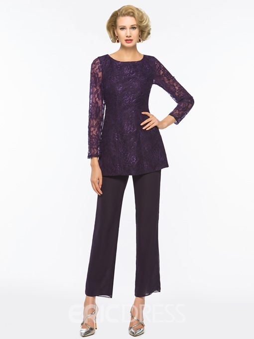 Ericdress 2 Pieces Lace Long Sleeves Mother of the Bride Pantsuits