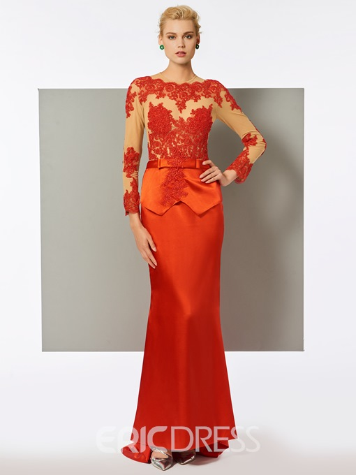 Ericdress Lace Scoop Appliques Sashes Mermaid Evening Dress