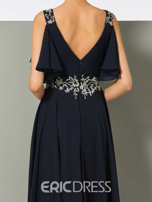 Ericdress A-Line Straps Pleats Long Evening Dress With Beadings
