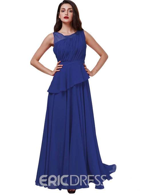 Ericdress Stunning Scoop Neckline Pleats Chiffon Draped Long Evening Dress