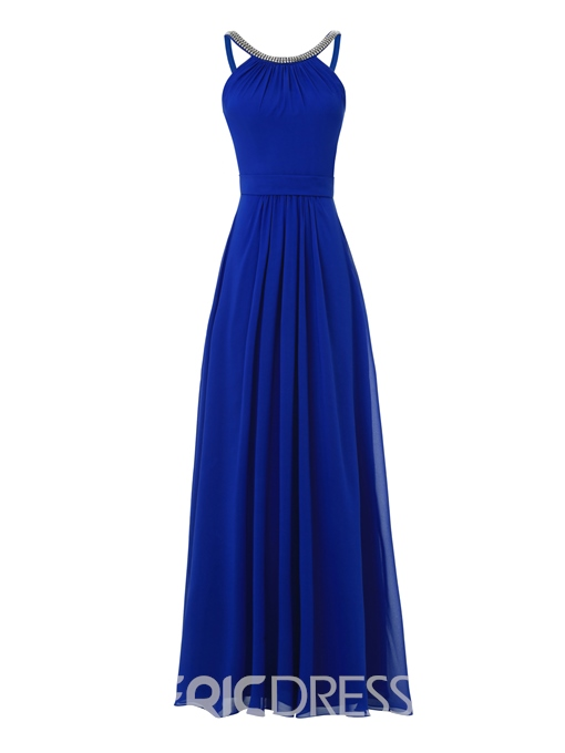 Ericdress A Line Beaded Halter Long Evening Dress In Floor Length