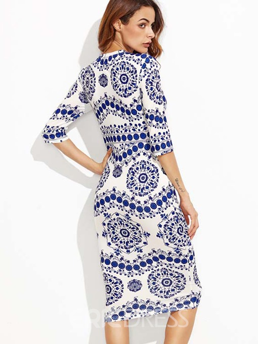 Ericdress Print Half Sleeve Fall Sheath Dress