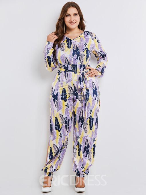 Ericdress Plus Size Print Knickerbockers Women's Jumpsuit