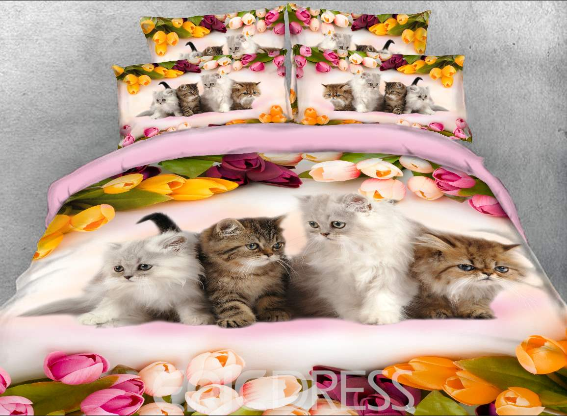 Vivilinen Kittens and Colorful Tulips Printed 4-Piece 3D Bedding Sets/Duvet Covers