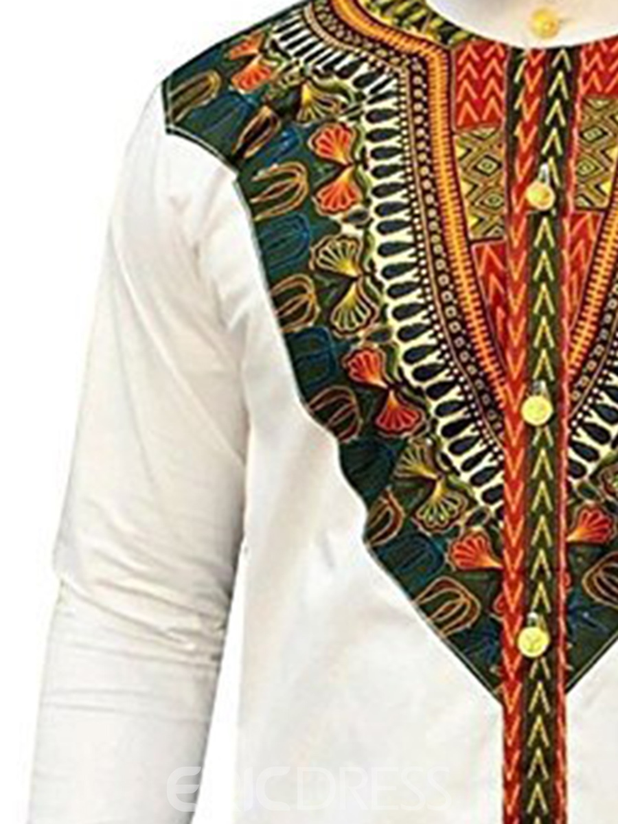 Ericdress African Fashion Dashiki Print Slim Fit Men's Shirt