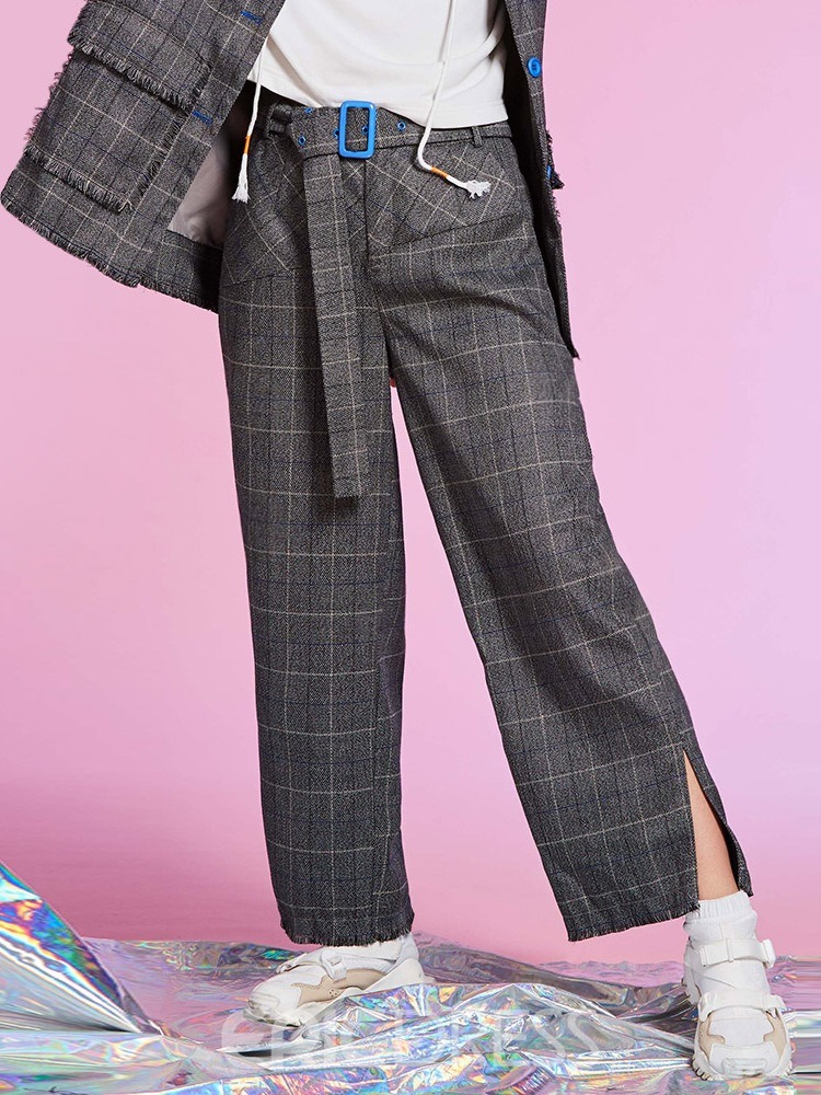Loose Plaid Ankle Length Women's Pants
