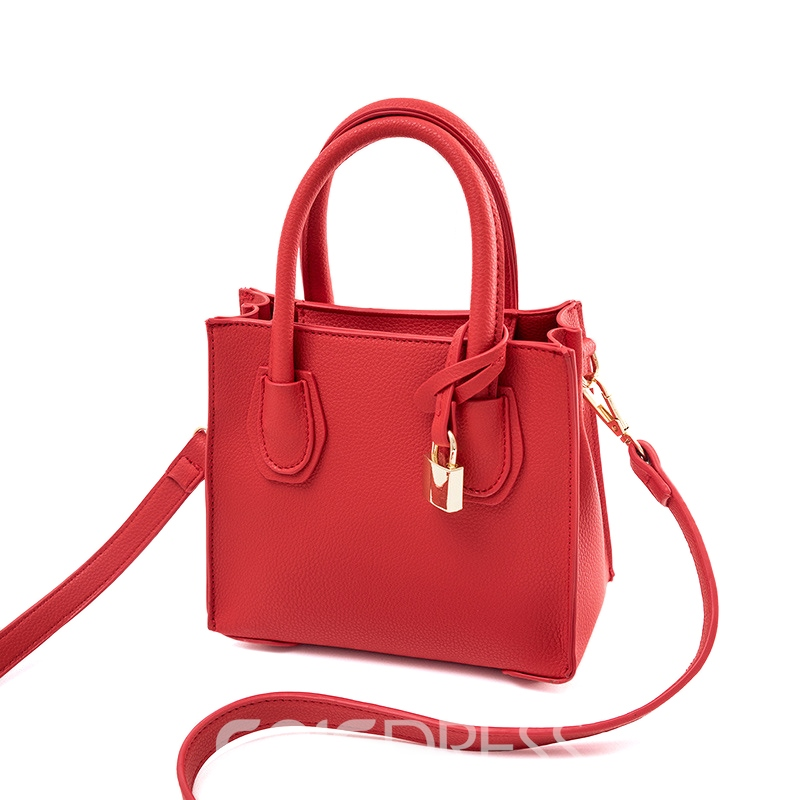 Ericdress Lock Pendant Solid Color Women Handbag