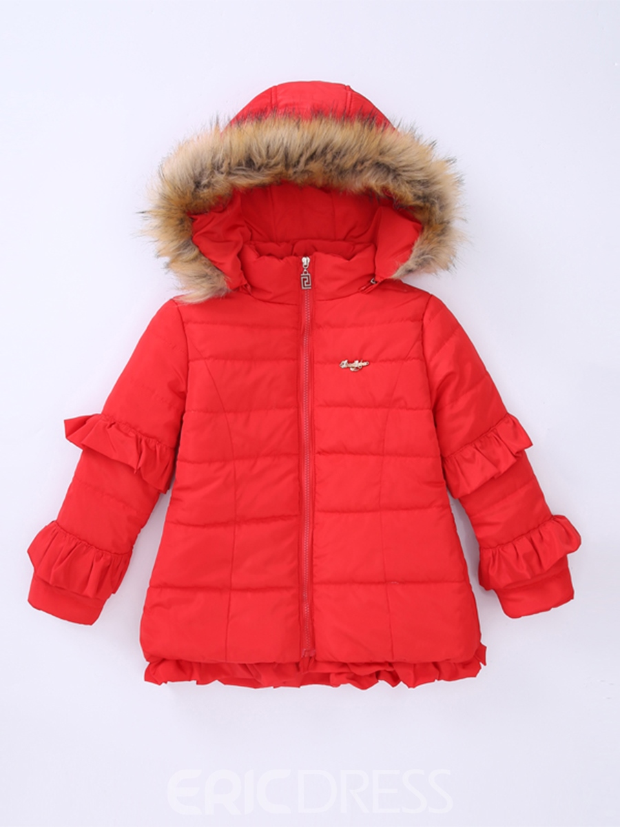 Ericdress Plain Falbala Zipper Girl's Mid-Length Down Jacket