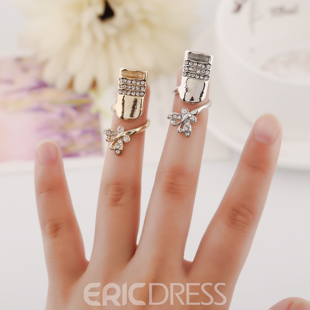 Ericdress Exquisite Diamante Butterfly Women's Nail Ring