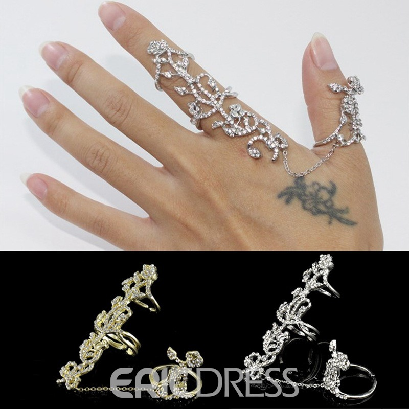 Ericdress Best Selling Personal Hollow Out Diamante Rose Ring
