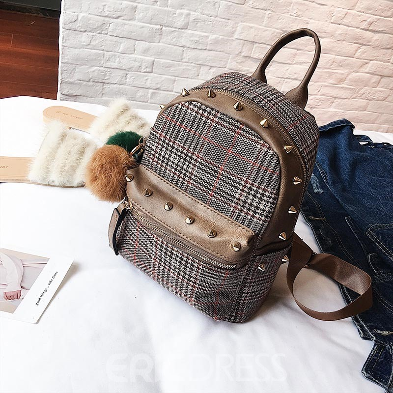 Ericdress Korean Style Rivet Plaid Women Backpack