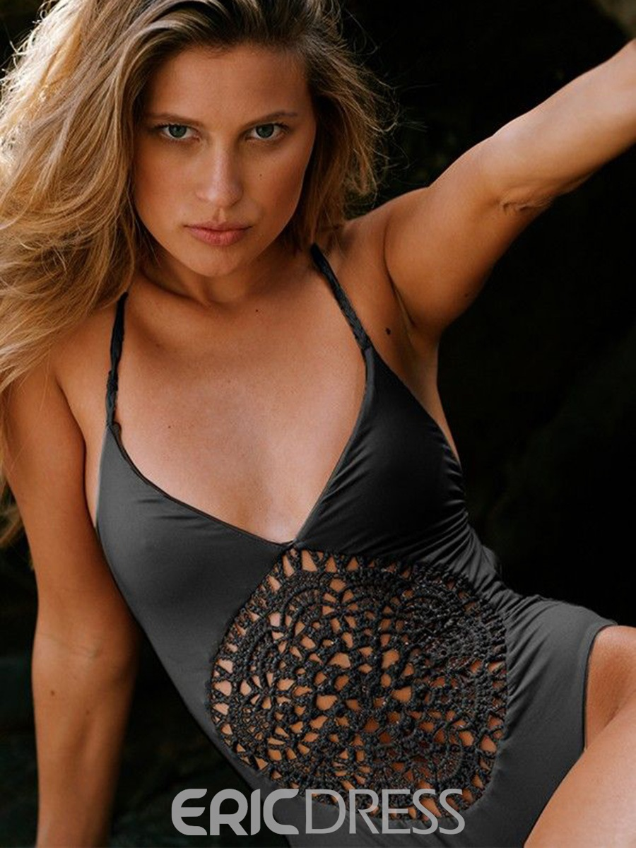 Ericdress Solid Color Hollow Backless Monokini