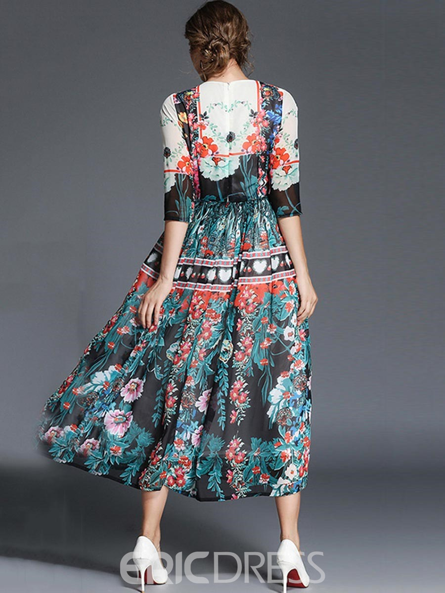 Ericdress Print Fall Trumpet Fall A Line Dress