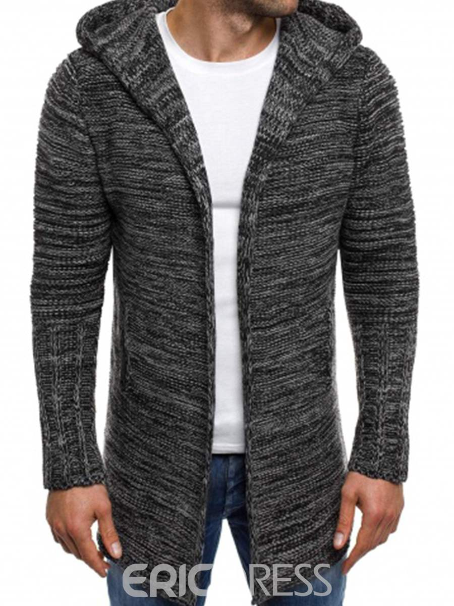 Ericdress Hooded Mid-Length Straight Men's Cardigan Sweater ...