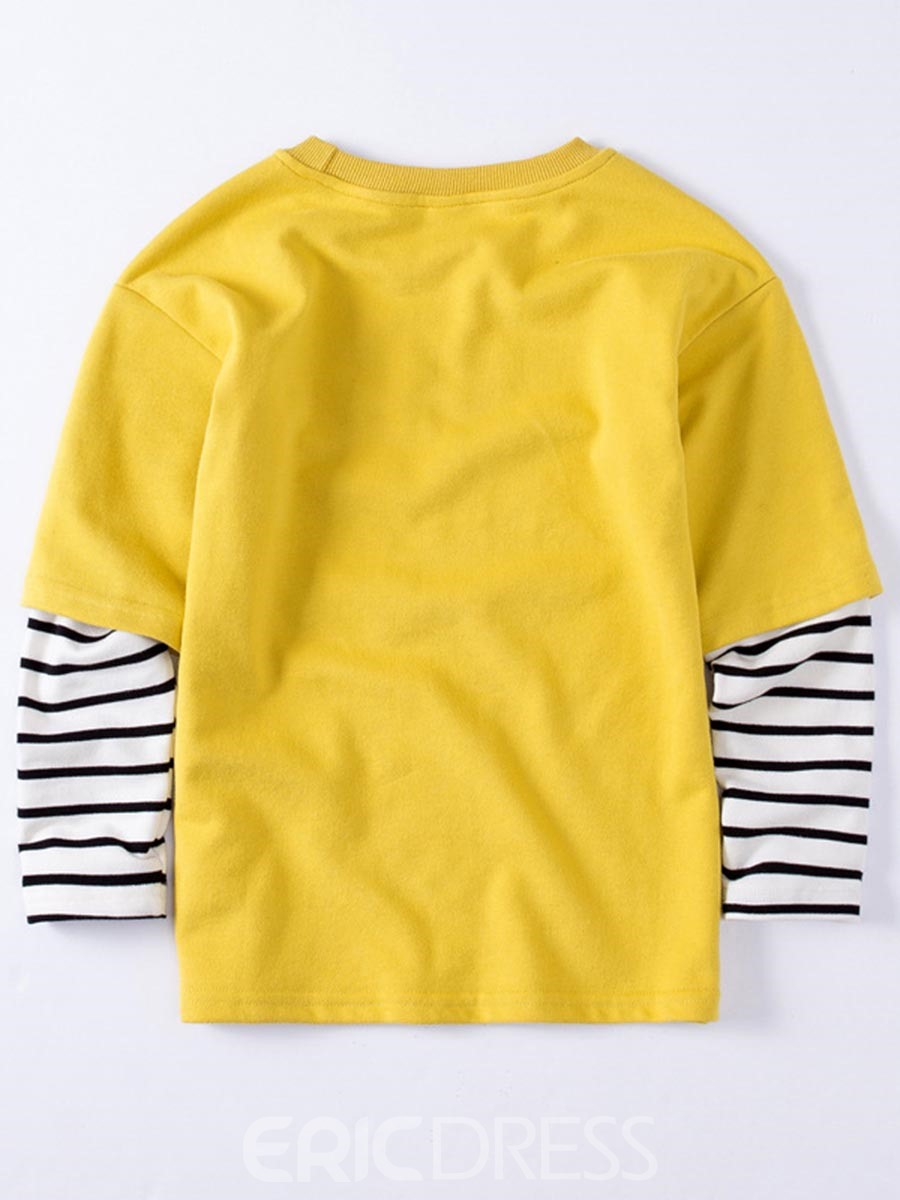 Ericdress Letter & Number Print Stripe Patchwork Boy's Sweater