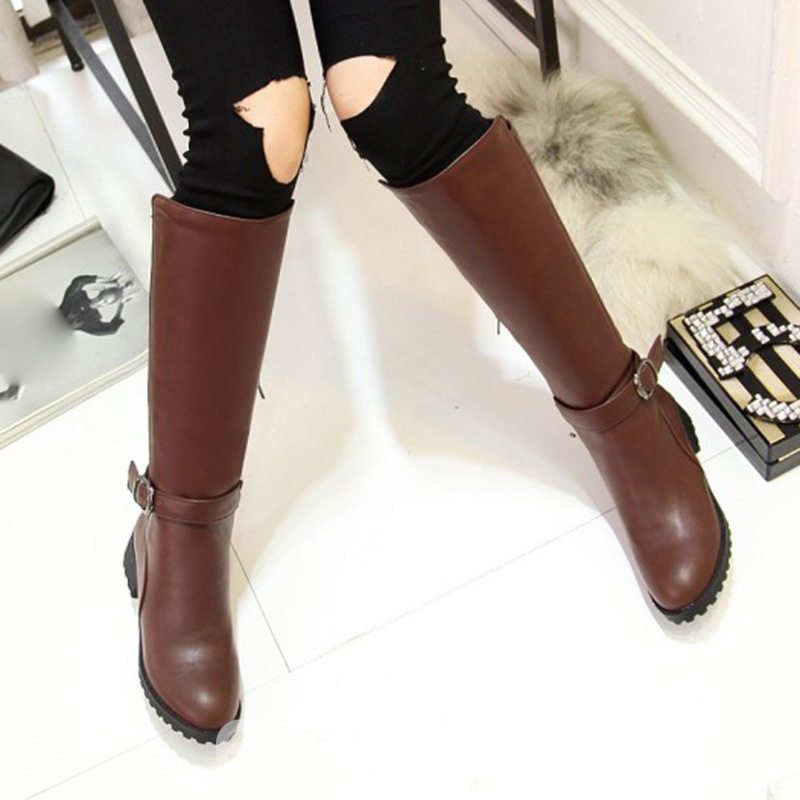 Ericdress Fall&Winter Buckle Plain Women's Knee High Boots