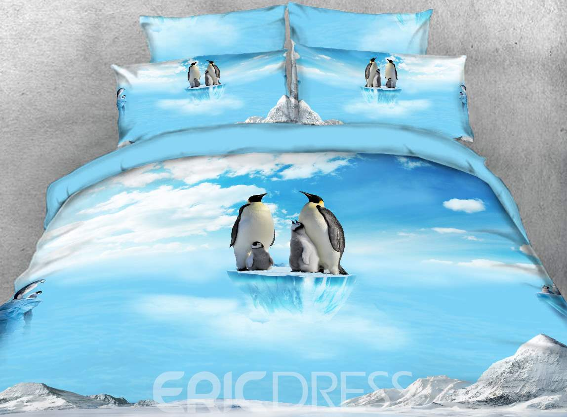 Vivilinen 3D Penguin Family on Ice Printed 4-Piece Bedding Sets/Duvet Covers