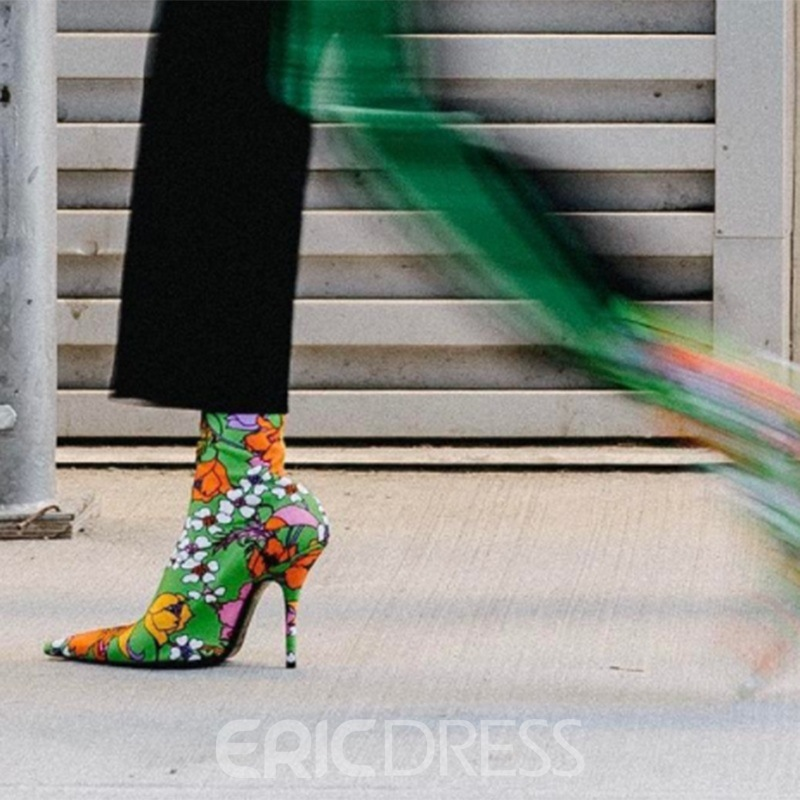 Ericdress Floral Pointed Toe Slip-On Women's Sock Boots