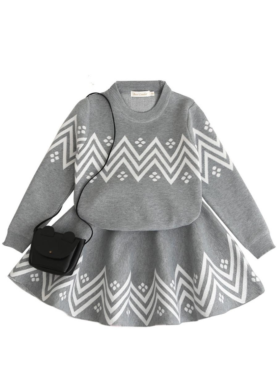 Ericdress Leisure Zigzag Stripe Pullover & Dress 2-Pcs Outfit