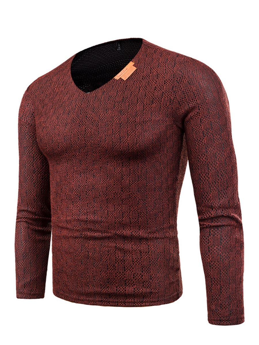 Ericdress V-Neck Long Sleeve Pullover Slim Men's Sweater