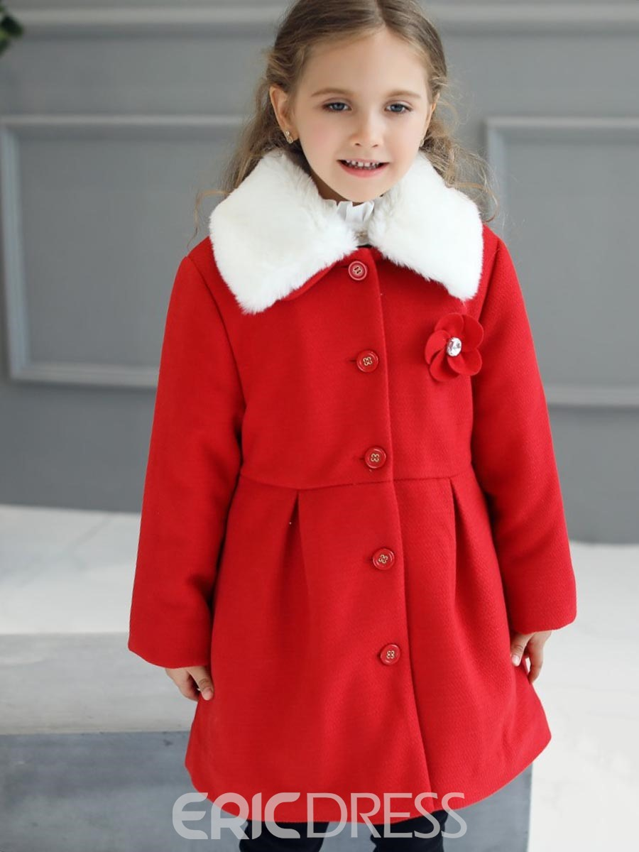 Ericdress Single-Breasted Fur Collar Thick Girl's Wool Blends Coat