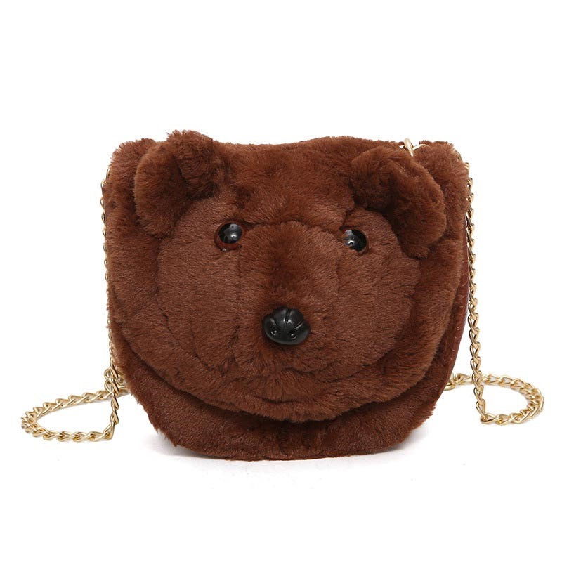 Ericdress Distinctive Bear Design Plush Chain Crossbody Bag