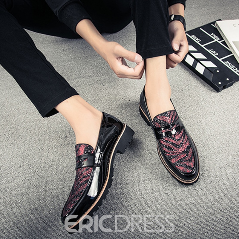 Ericdress Sequin Color Block Slip-On Men's Oxfords