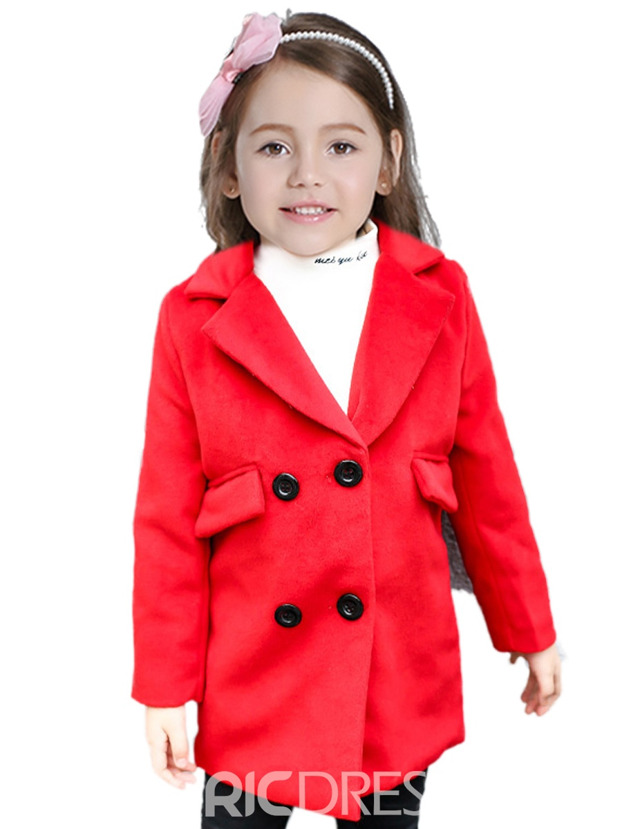 Ericdress Notched Lapel Double-Breasted Mid-Length Girl's Wool Blends Coat