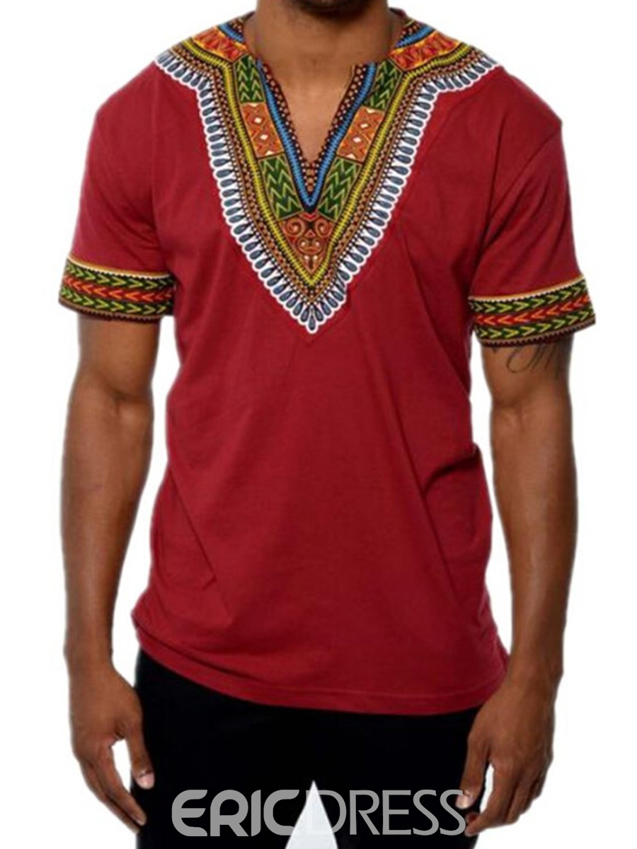 Ericdress V-Neck Dashiki African Print Short Sleeve Men's T-Shirt