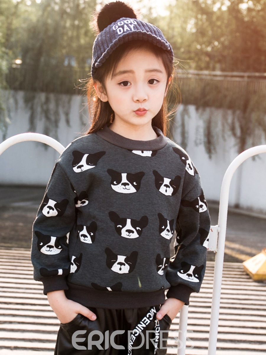 Ericdress Fashion Dog Print Long Sleeve Girl's Sweater