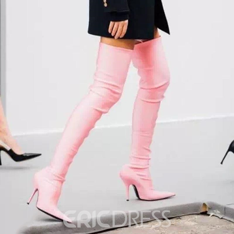 Ericdress Fashion Pink Stiletto Heel Over-The-Knee Boots