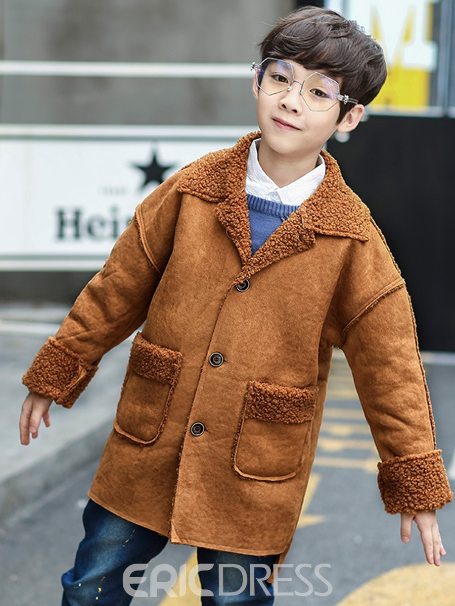 Ericdress Faux Fur Lapel Single-Breasted Boy's Coat