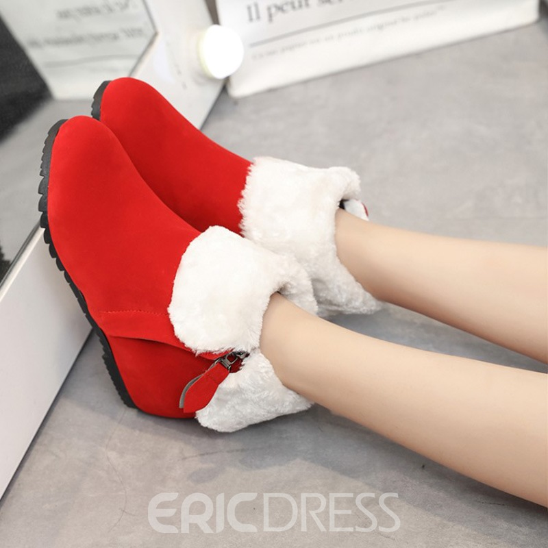 Ericdress Fuzzy Round Toe Women's Ankle Boots