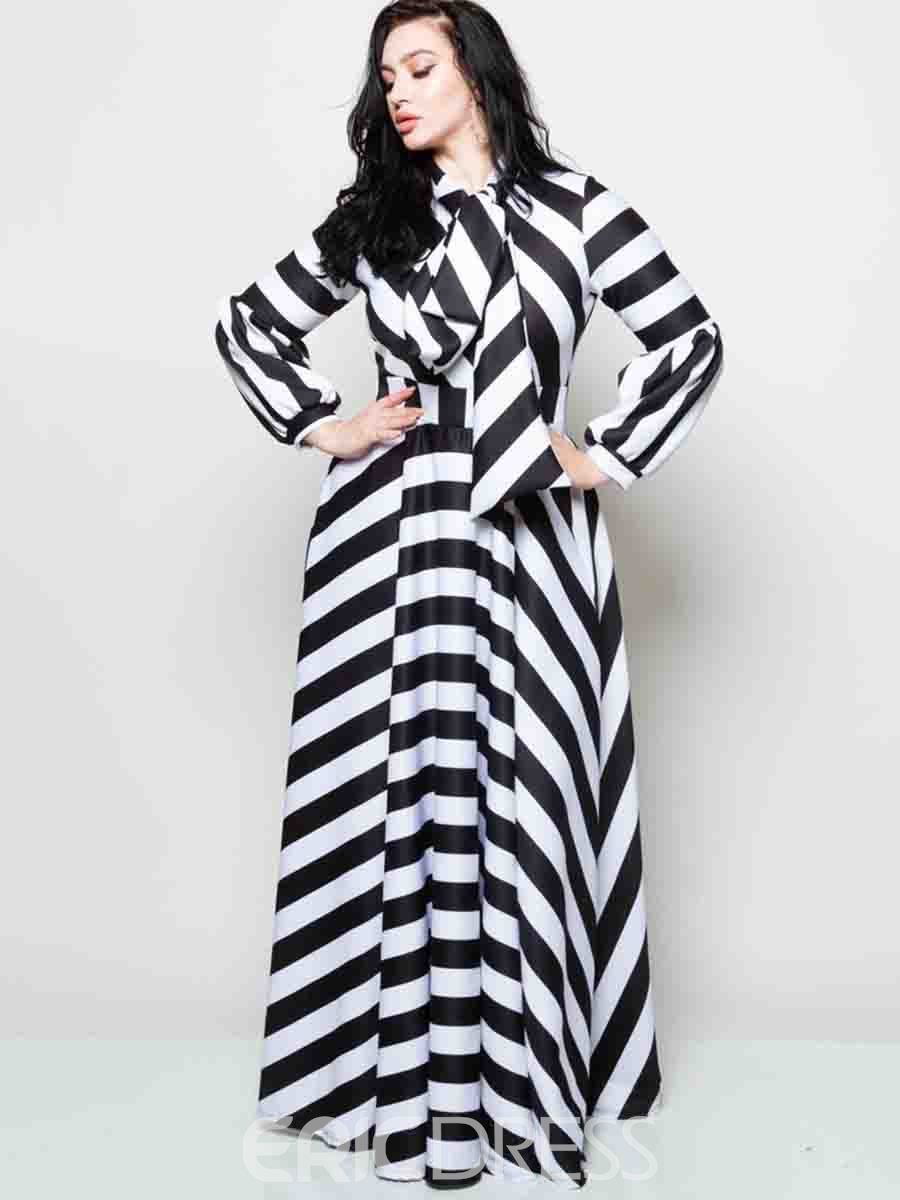 Ericdress Bow Collar Long Sleeve Plus Size Stripe Maxi Dress ...