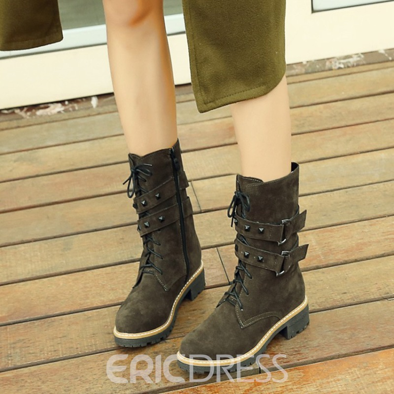 Ericdress Rivet Cross Strap Plain Women's Ankle Boots