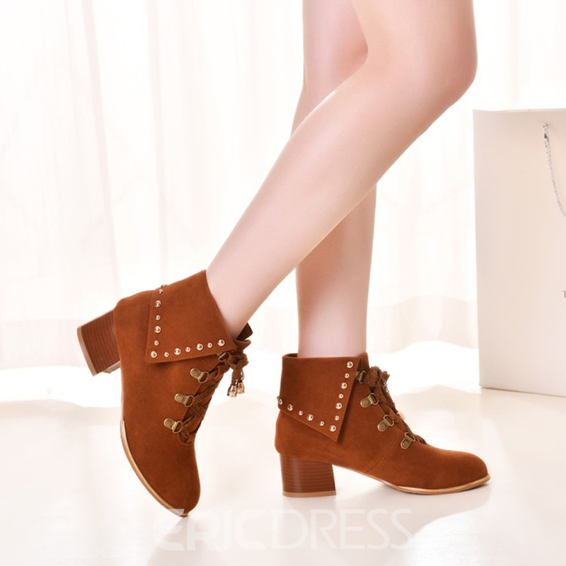 Ericdress Rivet Decorated Lace-Up Women's Ankle Boots