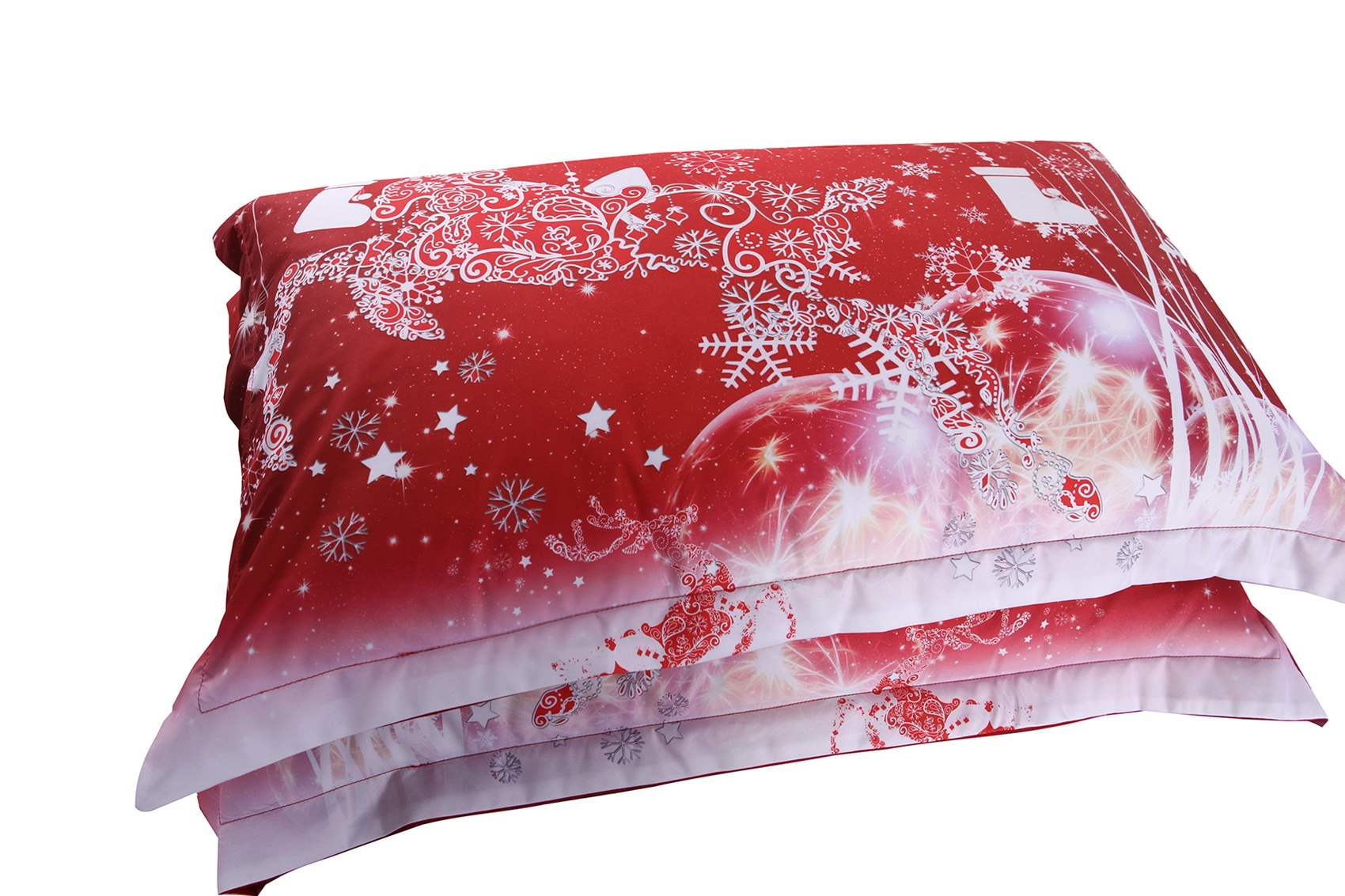 Vivilinen 3D Christmas Reindeer and Snowflake Printed Cotton 4-Piece Red Bedding Sets