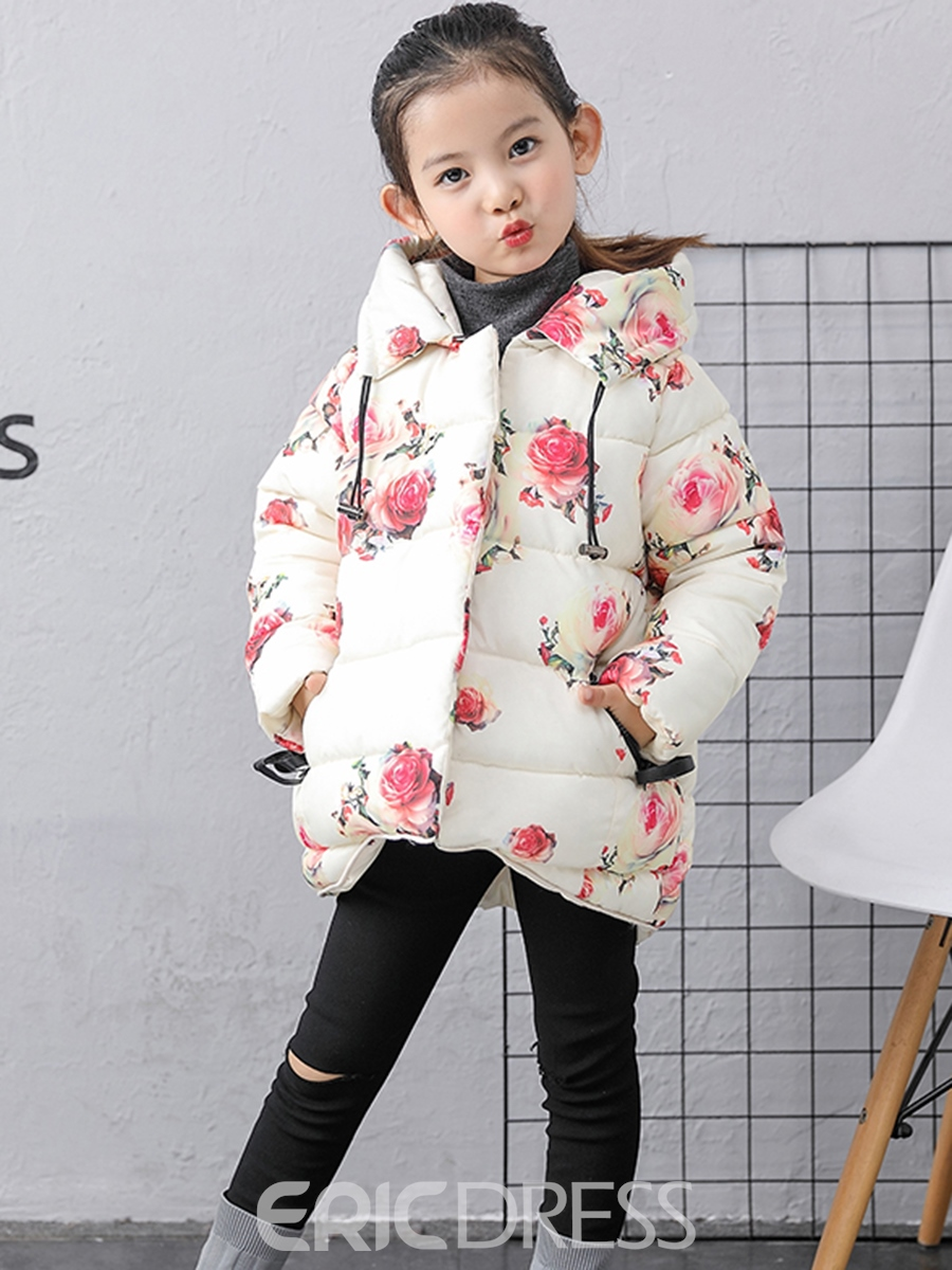 Ericdress Flower Print Hooded Thick Girls Down Jacket