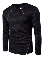 Ericdress Black Zip Patched Vogue Mens Hoodie фото