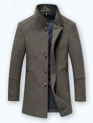 Ericdress Mid-Length Button Mens Woolen Coat