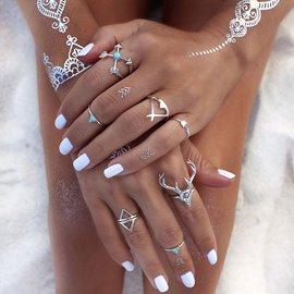 Ericdress Alluring Multi-Elements Gypsy Style Ring Set