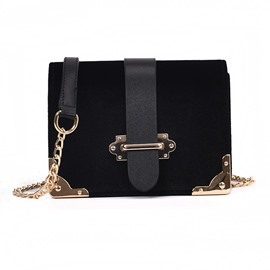 Ericdress Belt Decorated Velvet Chain Crossbody Bag