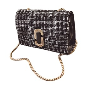 Ericdress Korean Style Plaid Woolen Crossbody Bag