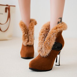 Ericdress Fuzzy Buckle Slip-On High Heel Boots